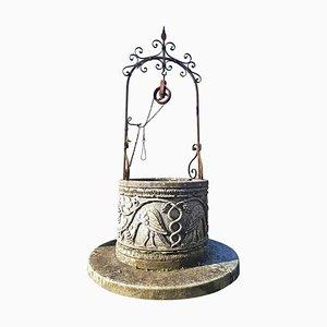 Cabeza de pozo de piedra de los deseos de hierro forjado estilo renacentista italiano
