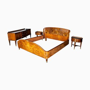 Mid-Century Bed Room Set with Nightstands and Dressing Table
