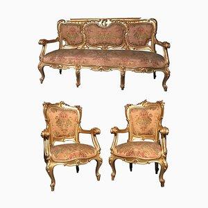 19th Century Italian Gilt Living Room Set with Sofa and Armchairs