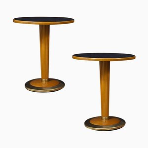 Mid-Century Italian Side Tables with Black Mirror Top, 1950, Set of 2