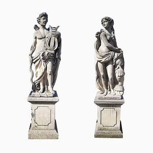 Esculturas de jardín italianas de piedra del tema mitológico Apolo y Minerva. Juego de 2