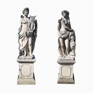 Italian Stone Garden Sculptures of Roman Mythological Subject Apollo & Minerva, Set of 2