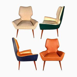 Mid-Century Modern Armchairs in the Style of Gio Ponti, 1950s, Set of 2