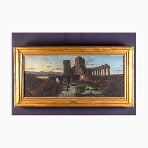 Römische Landschaft mit Acquedotto und Ruinen, Öl auf Leinwand, 1870