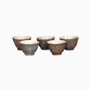 Yashima Japanese Tea Cups by Otagaki Rengetsu, 1880s, Set of 4