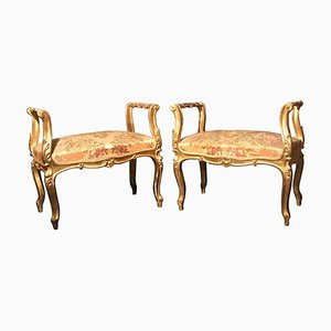 19th Century Italian Window Benches or Settees, Set of 2