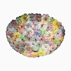 Multicolor Flower Basket Murano Glass Ceiling Light