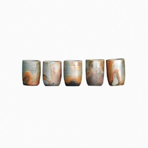 Japanese Teacups from Bizen Ceramics, 1990, Set of 5