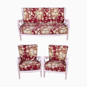 Pink Italian Armchairs and Sofa in Paolo Buffa Style, 1950s, Set of 3