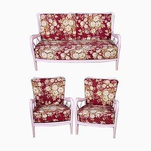 Rosa Italienische Sessel und Sofa im Paolo Buffa Stil, 1950er, 3er Set