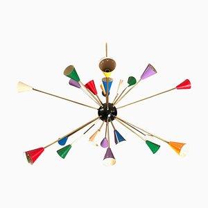 Mid-Century Italian Multi-Color Sputnik Chandelier from Stilnovo