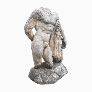 Scultura Torso di Ercole in pietra con base, Italia