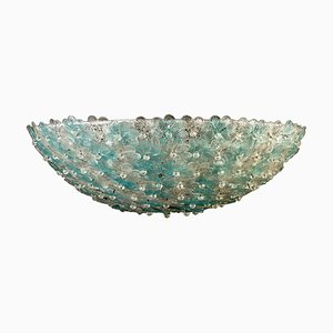 Aquamarine and Ice Murano Glass Flowers Basket Ceiling Light from Barovier & Toso