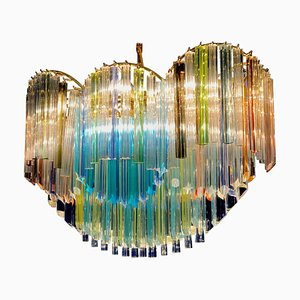 Italian Oval Shaped Multi-Color Spectacular Murano Glass Chandelier, 1970s
