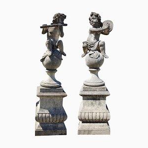 Statue da giardino in pietra raffiguranti musicisti, Italia, set di 2