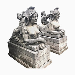 Italian Sphinx Limestone Statues, 1970s, Set of 2