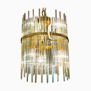 Regenbogenfarbener Kristallglas & Messing Kronleuchter von Gaetano Sciolari, 1960er