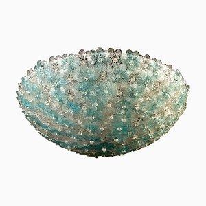 Aquamarinblaue Deckenlampe aus Muranoglas in Blumen-Optik von Barovier & Toso