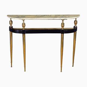 Mid-Century Italian Oval-Shaped Gilt Bronze Console Table by Paolo Buffa