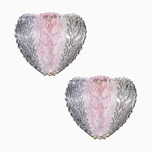 Italian Pink and Clear Murano Glass Leaf Wall Lights, 1970s, Set of 2