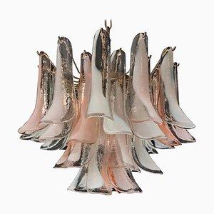 Murano Glas Kronleuchter in Rosa & Weiß von Mazzega, 1980er