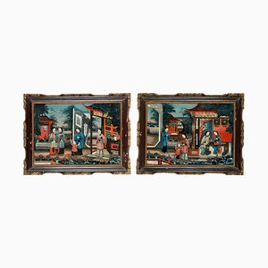 19th Century Chinese Reverse-Glass Paintings, 1830s, Set of 2