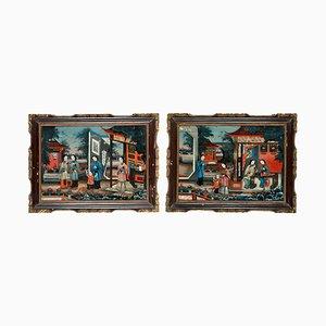 Chinesische Hinterglasmalereien, 19. Jh., 1830er, 2er Set