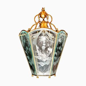 Mid-Century Italian Brass Lantern in the Style of Pietro Chiesa