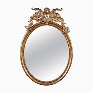 Ovaler italienischer Spiegel mit vergoldetem Holzrahmen, 18. Jh