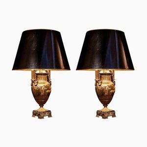 Französische Tischlampen aus Gusseisen mit grünem Marmorfuß, 19. Jh., 2er Set
