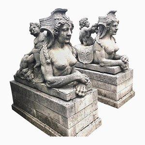 Estatuas italianas de piedra caliza, años 70. Juego de 2