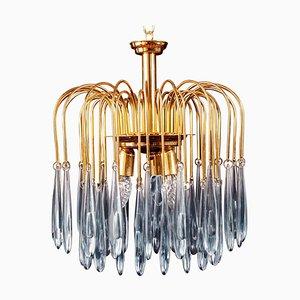 Murano Glas Aquamarin Tropfen und Messing Rahmen Kronleuchter von Venini, 1970er