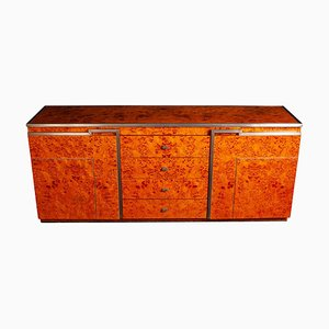 Chrome and Burl Wood Credenza, Italy, 1970s