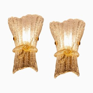 Italian Murano Glass Wall Sconces from Barovier & Toso, 1970s, Set of 2