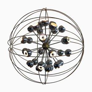 Italienischer Multi-Sputnik Kronleuchter mit Chrom Lampen von Reggiani, 1970er