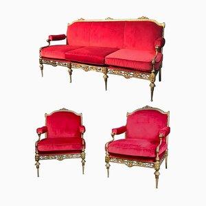 Italian Brass and Red Velvet Living Room Set, 1950s, Set of 3