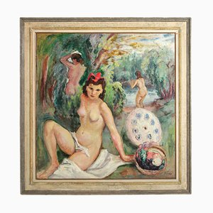 Peinture Postimpressionniste, Fioravante Seibezzi, The Bathing Nymphs, 1940s