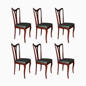 Art Deco Dining Room Chairs by Osvaldo Borsani, 1940s, Set of 6