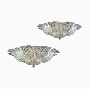 Brass Frame Murano Glass Flush Mounts from Barovier & Toso, Set of 2
