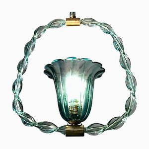Aquamarine Murano Glass Lantern by Ercole Barovier, 1940s