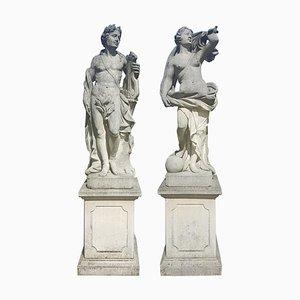 Italian Stone Garden Sculptures of Apollo and Roman Goddess, Set of 2