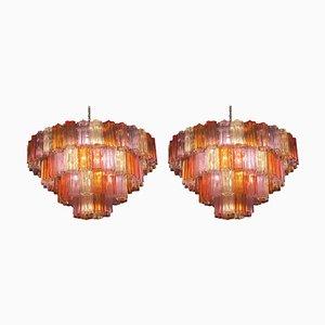 Mid-Century Multi Coloured Murano Glass Chandelier by Zuccheri for Venini, Set of 2