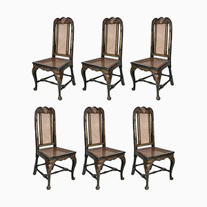18th Century George II Blue Wood English Chairs, 1750s, Set of 6