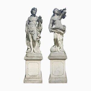 Esculturas de jardín italianas de piedra caliza de Apolo y diosa romana, 1960. Juego de 2