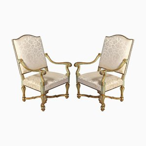 Italian Early 18th Century Painted Armchairs, Set of 2