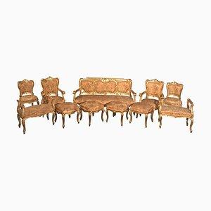 Italienisches Vergoldetes Salon Wohnzimmer Set, 19. Jh., 11er Set