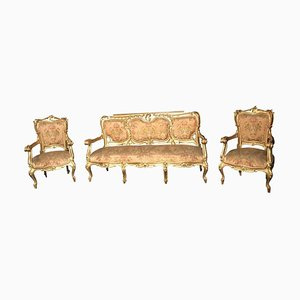 Italian 19th Century Gilt Living Room Set with Sofà and Armchairs, Set of 3