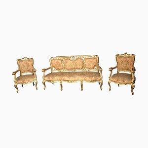 Italienisches vergoldetes italienisches Wohnzimmer Set mit Sofà und Armlehnstühlen, 3er Set