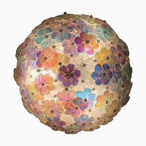 Florale Murano Glas Einbaulampe, 1980er