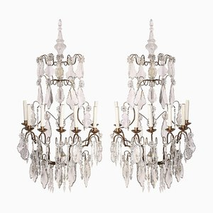 19th Century Continental 7 Branch Cut-Glass Wall Lights, Set of 2